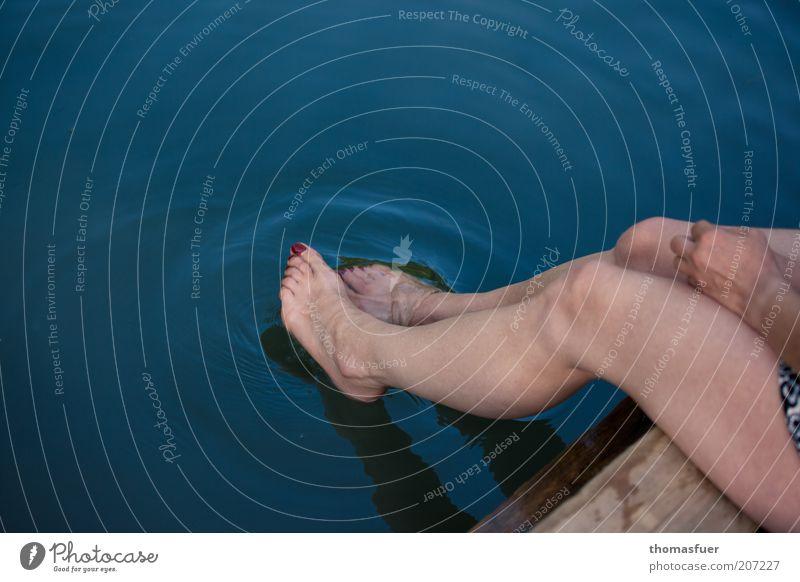 PROCEDURE Swimming & Bathing Summer Summer vacation Ocean Human being Feminine Woman Adults Legs Feet 1 Water Beautiful weather Lake Relaxation Sit Wet Blue