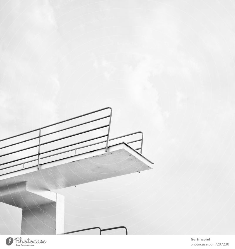 high diving Leisure and hobbies Summer Summer vacation Tall High diving Swimming pool Springboard Five meter board Aquatics Height Black & white photo