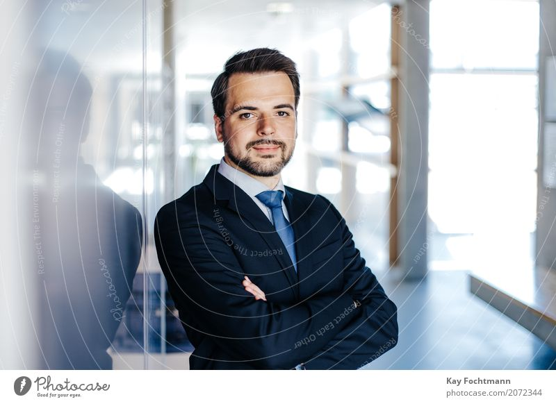 Business portrait of a young man Elegant Style Work and employment Profession Office work Economy Trade Financial Industry Company Career Success Masculine Man