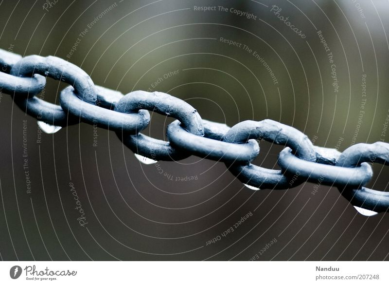 chained drops Metal Wet Chain Chain link Rain Synthesis Attachment Cold Border Barrier Strong Drops of water Water Rope Copy Space top Copy Space bottom