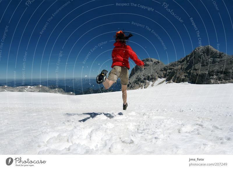 Human being Sky Youth (Young adults) Blue Red Winter Joy Adults Snow Mountain Movement Jump Power Walking Happiness 18 - 30 years