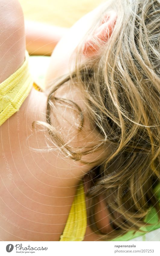 she`s the light Hair and hairstyles Calm Feminine Youth (Young adults) Skin Neck Lie Dream Bright Untidy Disheveled Sleep Behind Head Looking away Nape