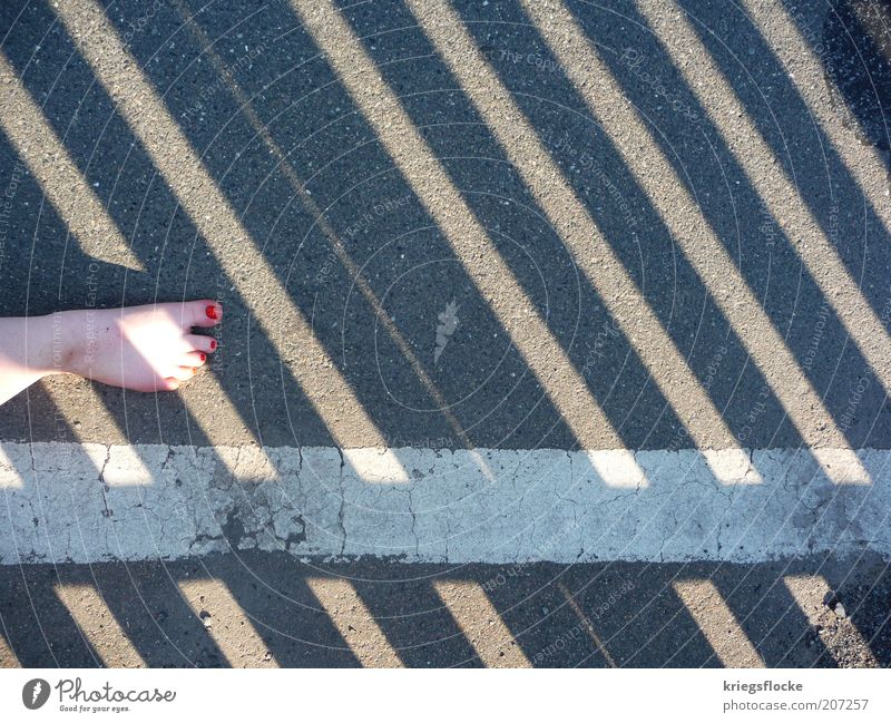side effect Feet Pedestrian Street Lanes & trails Walking Red Nail polish Dirty Sideline White Gray Stripe Colour photo Exterior shot Copy Space right