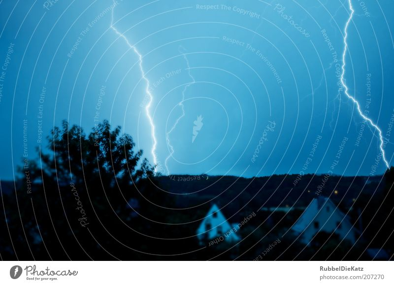 Nature Sky Blue Black Landscape Weather Environment Electricity Threat Climate Night sky Fantastic Lightning Thunder and lightning Storm Bizarre