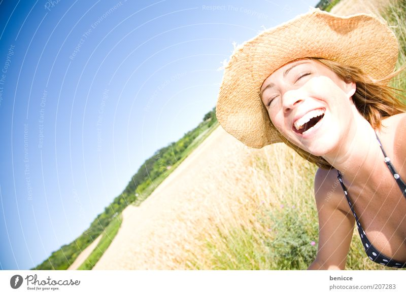 amoi gscheid holes Woman Human being Laughter Smiling Sincere Hearty Hat Summer Field Nature Stand Sunhat Rudbeckia Joy Portrait photograph Bikini