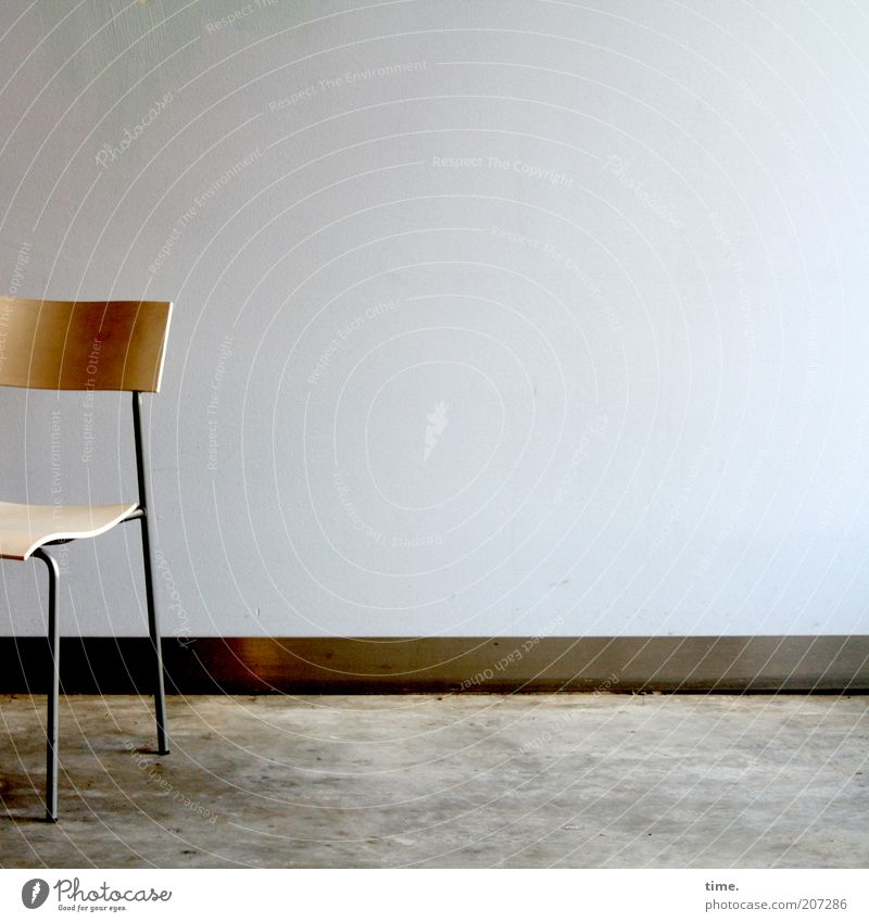 [H10.1] - time for a rest Design Furniture Chair Wall (barrier) Wall (building) Wood Metal Steel Exceptional Thin Sharp-edged Free Cheap Uniqueness Cold Seating