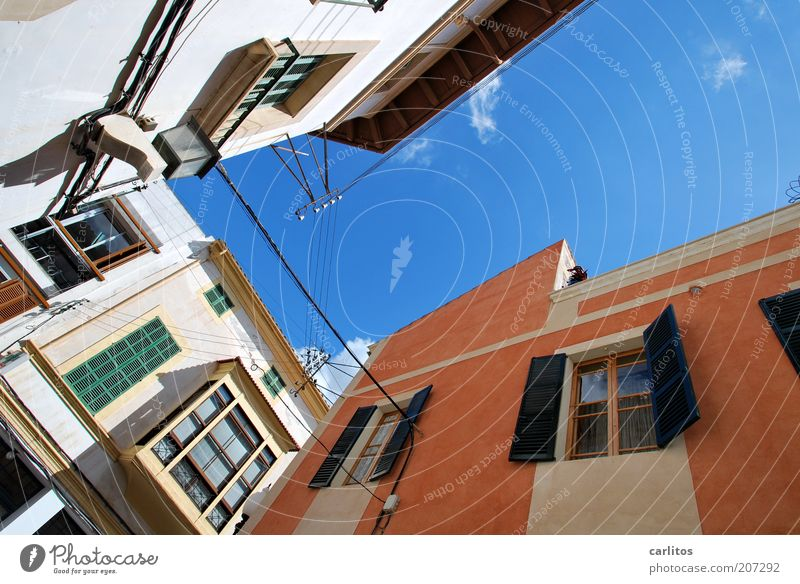 On the way to the market Sky Summer Beautiful weather Warmth Small Town Downtown Old town Building Wall (barrier) Wall (building) Facade Window Roof Shutter