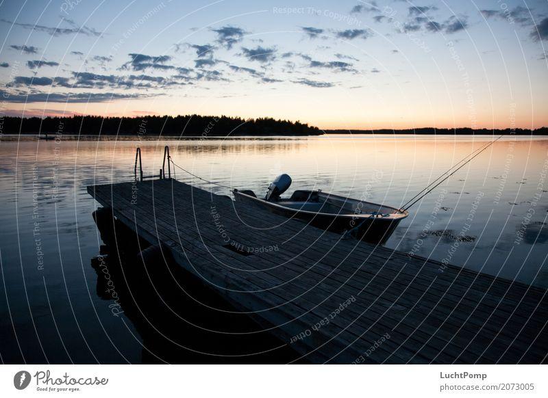 Vacation & Travel Water Relaxation Loneliness Clouds Dark Watercraft Weather Idyll Footbridge Dusk Fishing (Angle) Fisherman Fishing rod Skerry