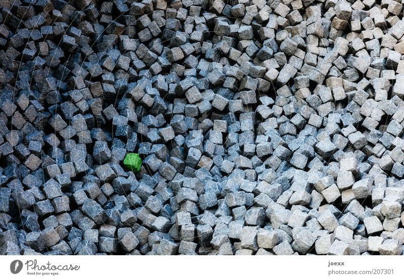 Green Gray Stone Construction site Symbols and metaphors Cobblestones Many Material Accumulation Paving stone Time Things Wide angle