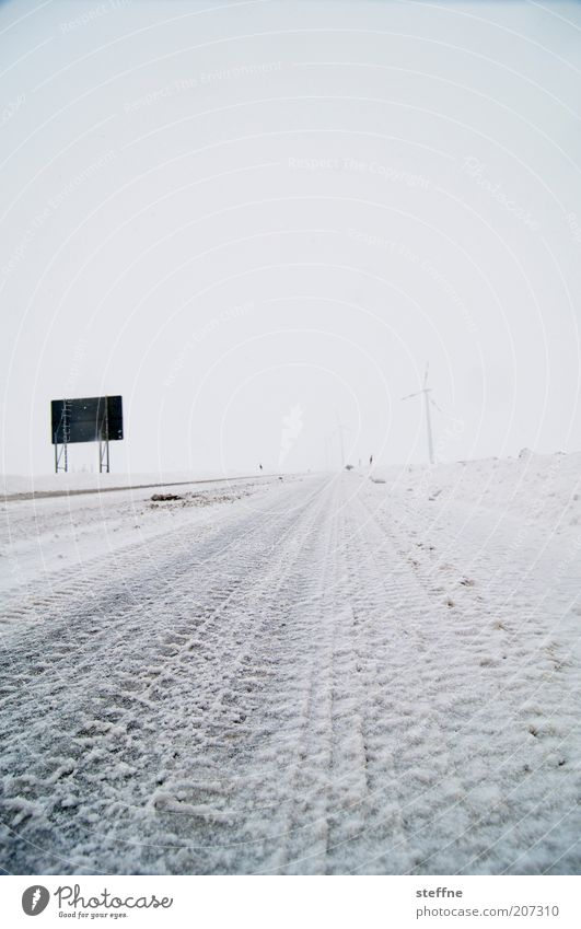 Absolutely cool! Winter Ice Frost Snow Street Road sign Fresh Cold Skid marks Tire tread Colour photo Exterior shot Structures and shapes Deserted