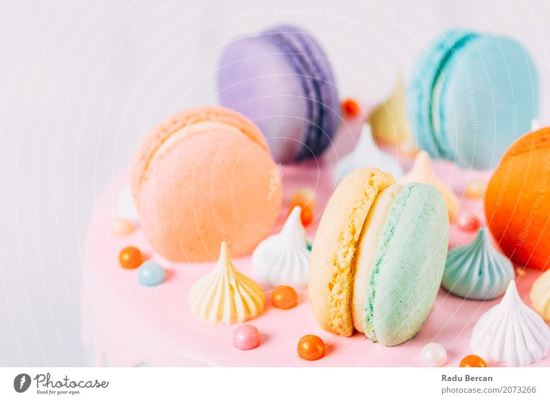 Colorful Macaron Birthday Cake And Sweet Candy Topping Blue Colour White Red Eating Yellow Food Feasts & Celebrations Pink Orange Nutrition Fresh Retro