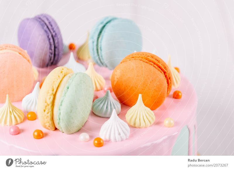 Colorful Macaron Birthday Cake And Sweet Candy Topping Blue Colour Green White Eating Yellow Food Feasts & Celebrations Orange Pink Nutrition Retro Round Violet