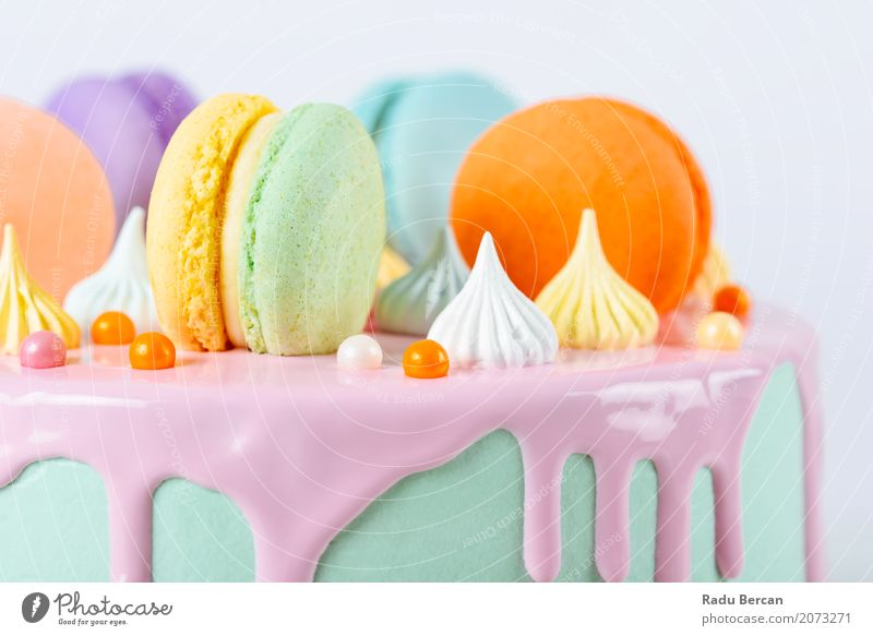 Colorful Macaron Birthday Cake And Sweet Candy Topping Blue Colour Beautiful Green White Eating Yellow Food Feasts & Celebrations Orange Pink Nutrition Retro