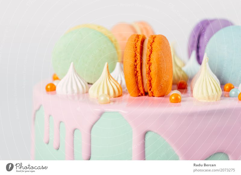 Colorful Macaron Birthday Cake And Sweet Candy Topping Blue Colour Green White Eating Yellow Food Feasts & Celebrations Pink Orange Nutrition Retro Round Violet