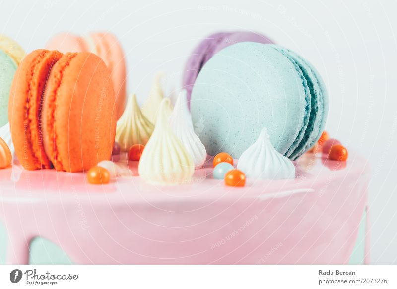 Colorful Macaron Birthday Cake And Sweet Candy Topping Blue Colour White Eating Food Feasts & Celebrations Orange Pink Nutrition Retro Round Violet Delicious