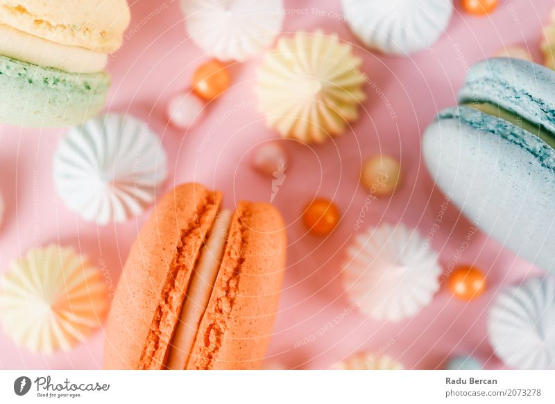 Colorful Macaron Birthday Cake And Sweet Candy Topping Blue Colour White Joy Eating Yellow Happy Food Feasts & Celebrations Pink Orange Nutrition Modern Elegant