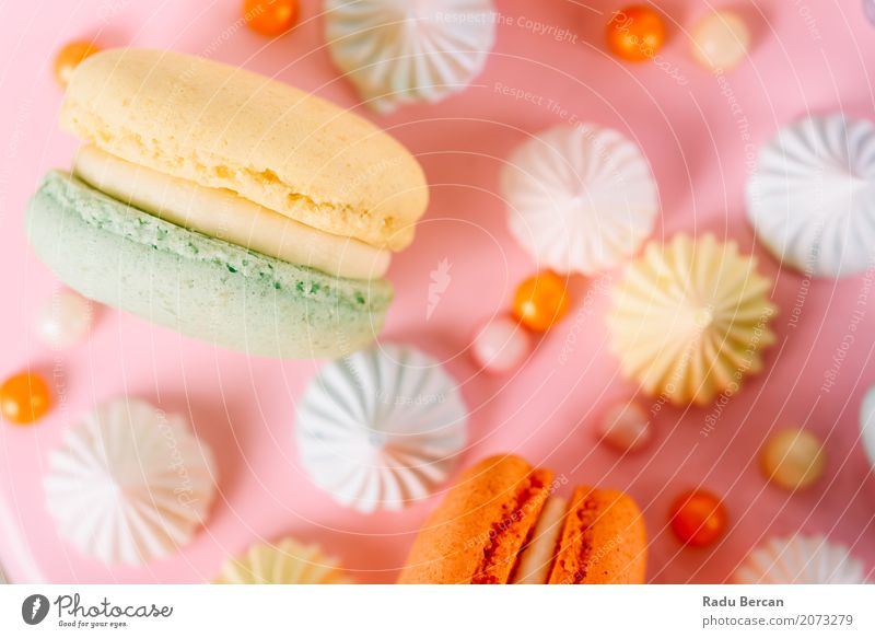 Colorful Macaron Birthday Cake And Sweet Candy Topping Colour Green White Eating Yellow Food Feasts & Celebrations Orange Pink Nutrition Retro To enjoy Round