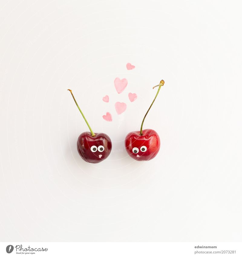 Cherrie Love Fruit Cherry Leisure and hobbies Handicraft Summer Valentine's Day Paper Decoration Kitsch Odds and ends Heart Kissing Looking Illuminate Happiness