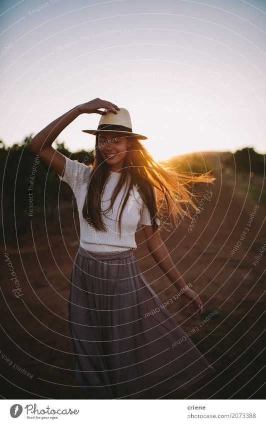 Happy Countrygirl on farmland in sunset Lifestyle Joy Beautiful Summer Human being Feminine Young woman Youth (Young adults) Adults 1 18 - 30 years