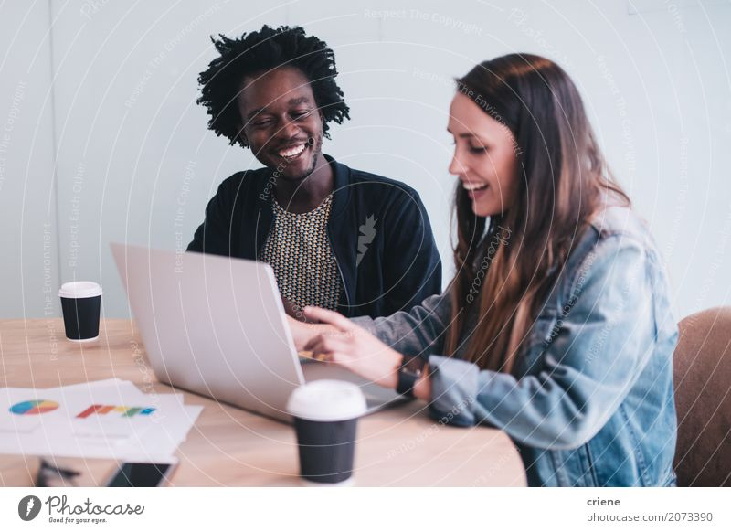 Young adult business people having meeting in office Youth (Young adults) Young woman Young man 18 - 30 years Adults To talk Happy Business Work and employment Office Technology Sit Success Creativity Smiling Coffee