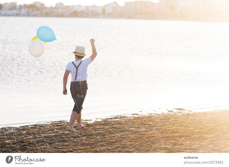 little boy with colorful balloons Human being Child Vacation & Travel Summer Ocean Loneliness Lifestyle Love Emotions Coast Boy (child) Happy Freedom Think Leisure and hobbies Masculine