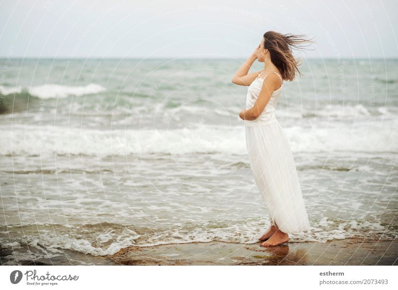 Pensive woman on the beach Human being Woman Vacation & Travel Youth (Young adults) Young woman Summer Beautiful Ocean Relaxation Loneliness 18 - 30 years Adults Lifestyle Emotions Coast Feminine