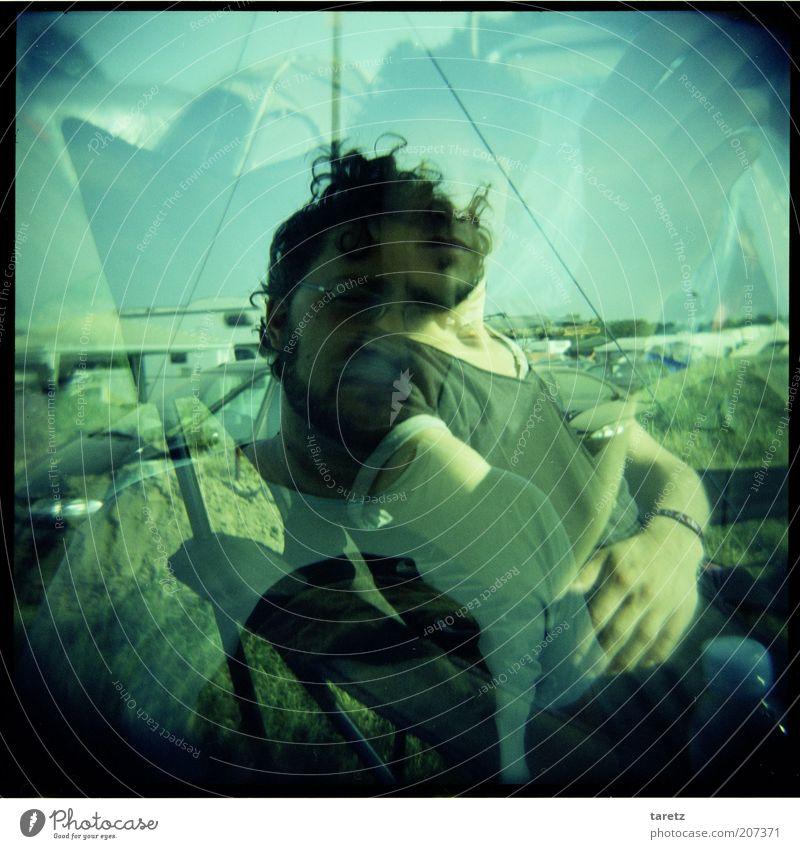 dazed and confused Human being Masculine 2 Music festival Double exposure Multicoloured Camping Hazy Ghosts & Spectres  Drugs rush Vignetting Colour photo