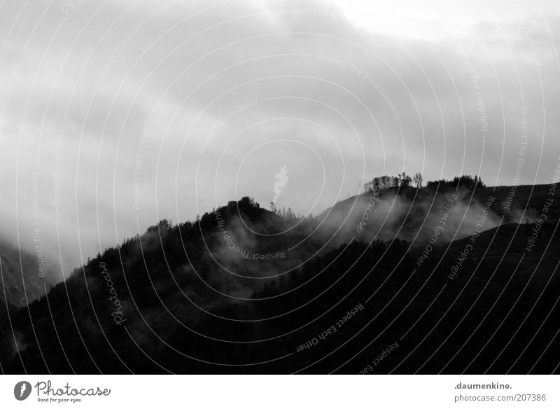 hope of glory Environment Nature Landscape Sky Clouds Storm clouds Fog Haze Calm Black & white photo Exterior shot Deserted Silhouette Panorama (View) Mountain