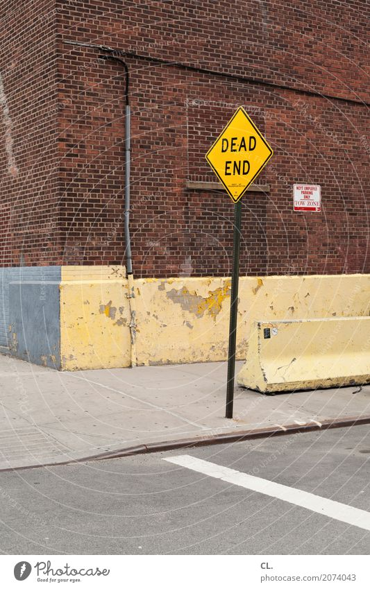 DEAD End New York City USA Town Deserted House (Residential Structure) Wall (barrier) Wall (building) Transport Means of transport Traffic infrastructure