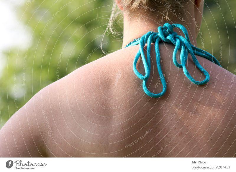 Woman Nature Blue Summer Adults Feminine Contentment Blonde Back Skin Wellness Thin Beautiful weather Turquoise Bikini Well-being