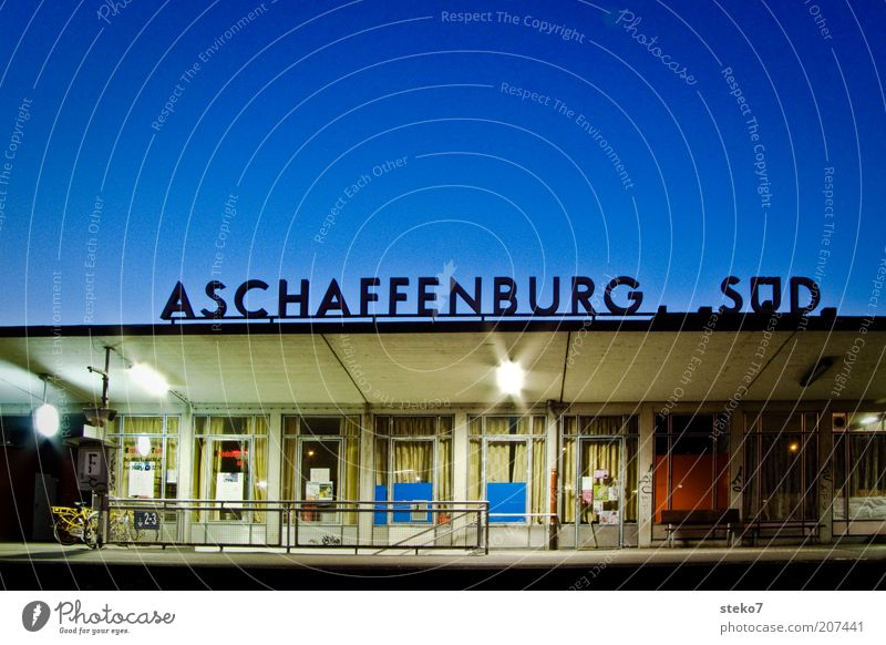 terminus Vacation & Travel Blue Aschaffenburg South Terminus Late Colour photo Exterior shot Deserted Copy Space top Twilight Artificial light Long exposure