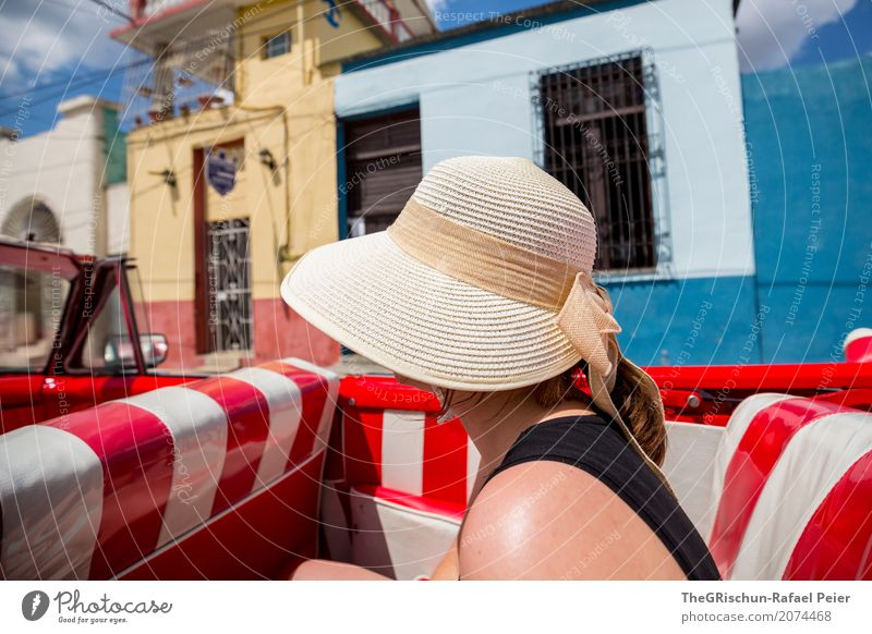 Vacation & Travel Old Blue White Red House (Residential Structure) Black Travel photography Freedom To enjoy Driving Village Hot Hat Cuba Motoring
