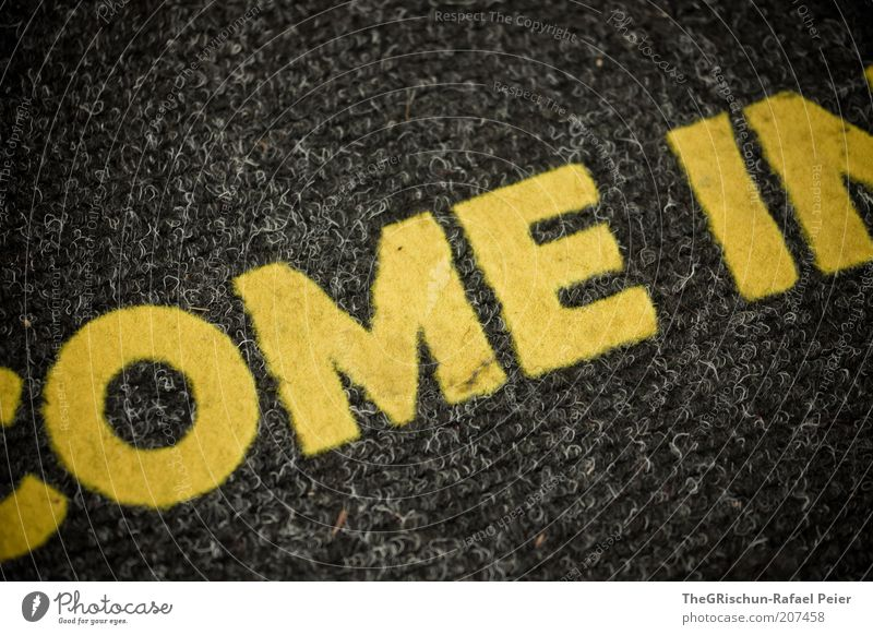 welcome Yellow Gray come in Colour photo Interior shot Bird's-eye view Doormat Letters (alphabet) Word Characters English Welcome Section of image