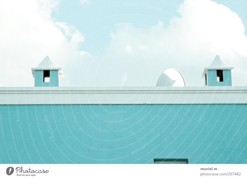 Blue House (Residential Structure) Wall (building) Wall (barrier) Building Architecture Roof Manmade structures Turquoise Chimney Satellite dish