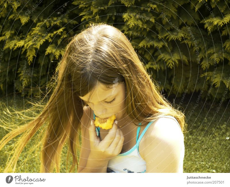 Human being Child Girl Green Summer Nutrition Life Relaxation Meadow Garden Contentment Blonde Eating Wind Fruit