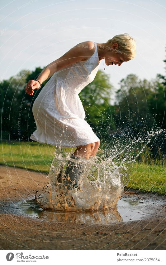 Woman Water Joy Life Playing Art Jump Rain Park Weather Esthetic Happiness Rainwater Dress Self-confident Landing