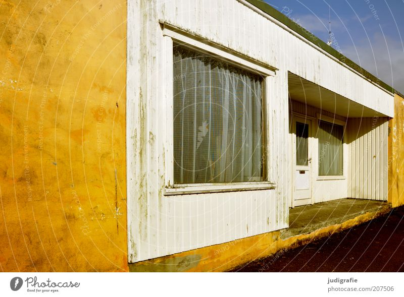 House (Residential Structure) Yellow Window Building Door Facade Living or residing Hut Manmade structures Entrance Curtain Detached house Accommodation