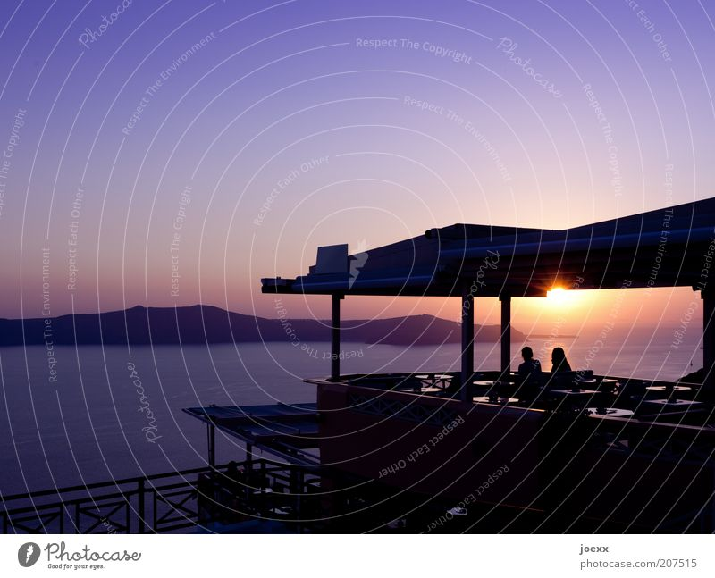 luck Calm Vacation & Travel Summer vacation Sun Ocean Island Couple Partner 2 Human being Sky Sunrise Sunset Beautiful weather Observe To enjoy Yellow Violet