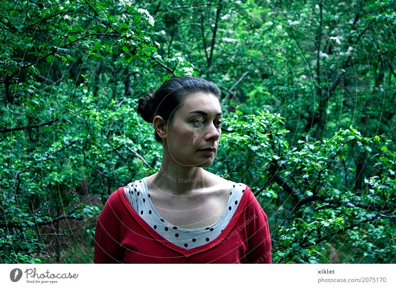 tree girl Tree Bushes Red Green Spring Neck Half Forest Air Nature Looking away Hair Side Bone trailing Sadness Earnest Deep Philosophy Aircraft Woman