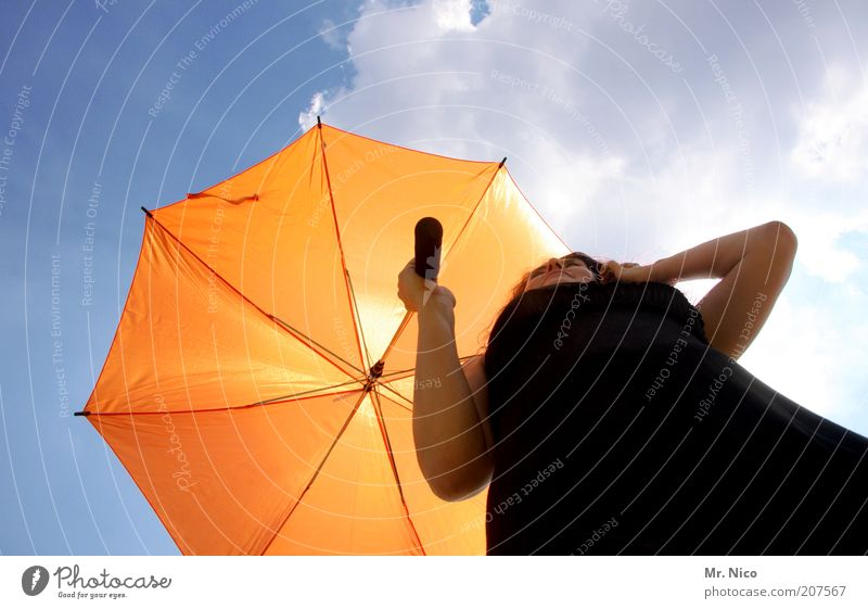 Patroness ll Feminine Woman Adults Arm Sky Clouds Sunlight Summer Climate Beautiful weather Dress Umbrella Black Orange Little black dress To hold on Sunshade