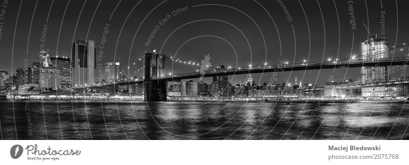 Brooklyn Bridge at Night. Vacation & Travel River Town Skyline Building Architecture Landmark Black White New York City panoramic Manhattan cityscape