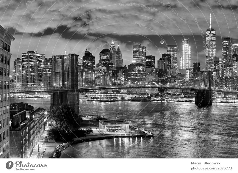Moon over Manhattan Town Beautiful White Black Building Exceptional Gray Modern High-rise USA Bridge Illustration Tourist Attraction Skyline Landmark Downtown