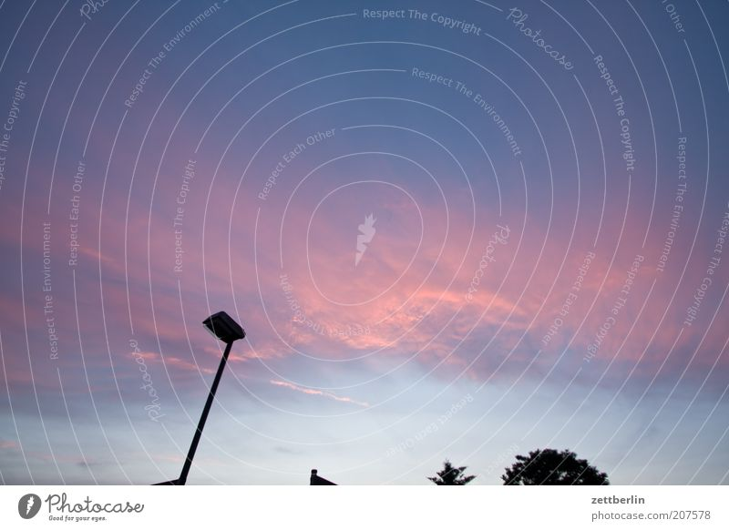 canopy Deserted Emotions June Colour photo Exterior shot Evening Twilight Sunrise Sunset Red sky Copy Space Neutral Background Street lighting Lamp post
