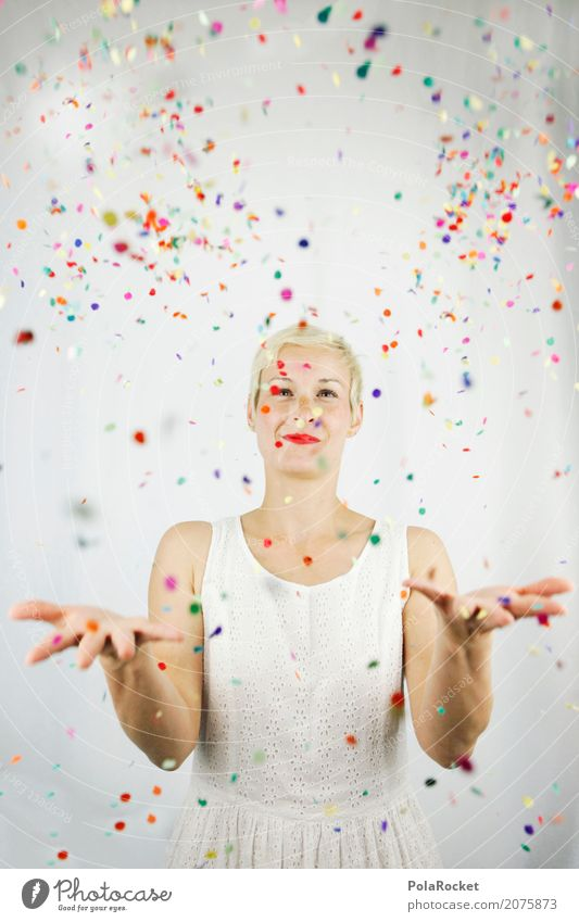 #A# Confetti free Art Work of art Esthetic Multicoloured Many Joy Comical Funster The fun-loving society Party Party mood Party service Woman Young woman