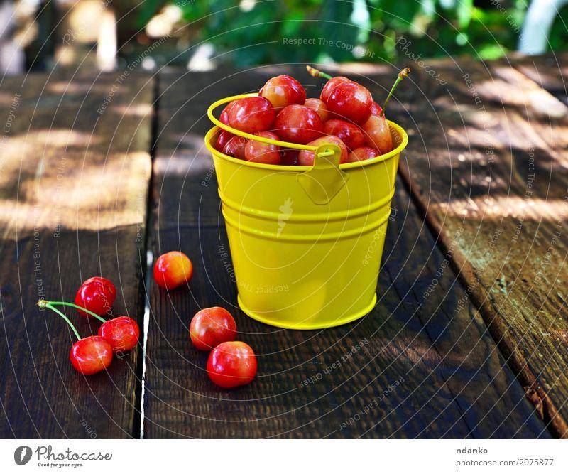 Ripe pink cherry Fruit Dessert Vegetarian diet Summer Table Wood Eating Fresh Bright Natural Retro Juicy Yellow Pink Red ripe many Berries sweet Organic Crops