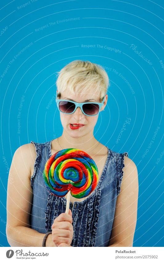 #A# Temptation Art Work of art Esthetic Woman Hip & trendy Lollipop Multicoloured Alluring Delicious Sugar Sunglasses Blonde Model Blue Diet Lips Lipstick
