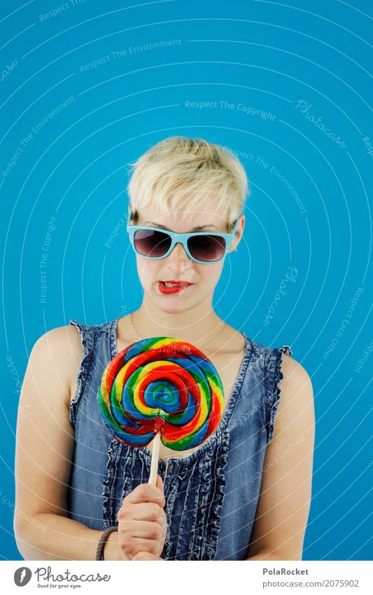 Woman Blue Young woman Art Fashion Esthetic Blonde Delicious Hip & trendy Lips Model Sunglasses Diet Work of art Denim Sugar
