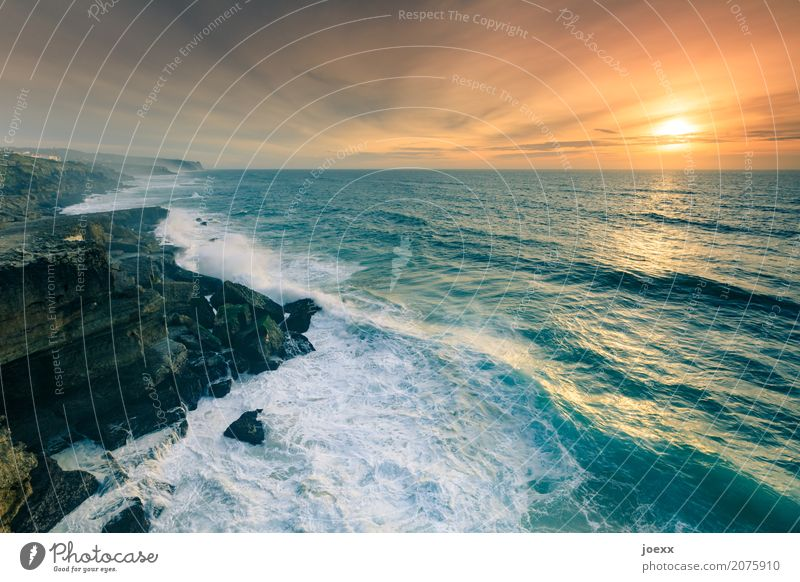 over the sea Vacation & Travel Far-off places Freedom Sun Ocean Landscape Sky Clouds Horizon Summer Beautiful weather Rock Waves Coast Wild Blue Brown Orange