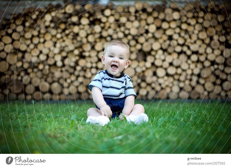 Human being Child Blue Green Joy Baby animal Emotions Grass Small Laughter Wood Happy Natural Brown Moody Masculine