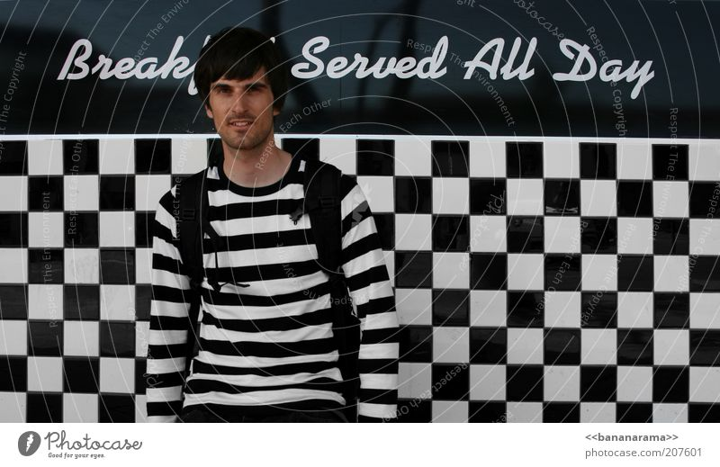Zebra meets chessboard Nutrition Breakfast Gastronomy Masculine Young man Youth (Young adults) 1 Human being 18 - 30 years Adults Clothing Sweater Black-haired